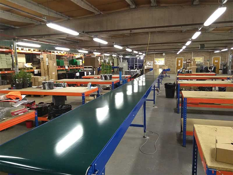 belt conveyor and benches