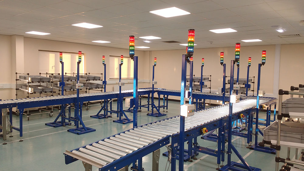 lean production cell roller conveyors