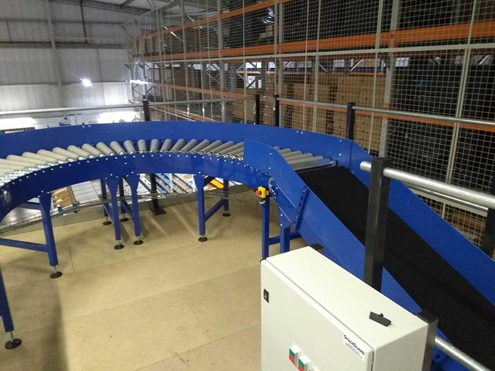 mezzanine belt and roller conveyor system