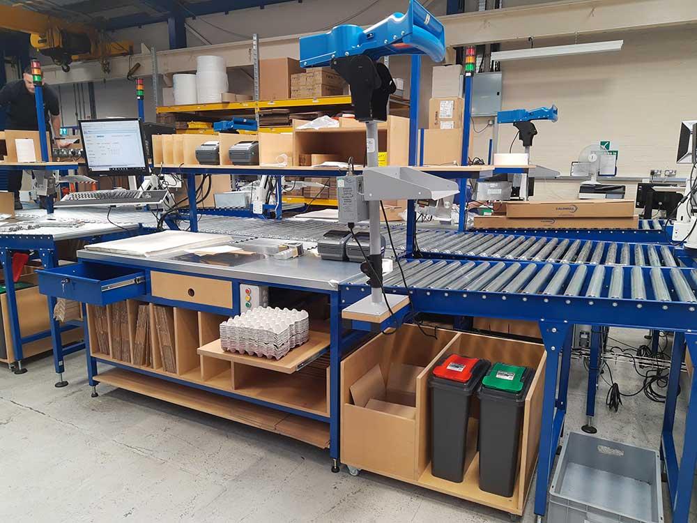 roller conveyor packing workstation
